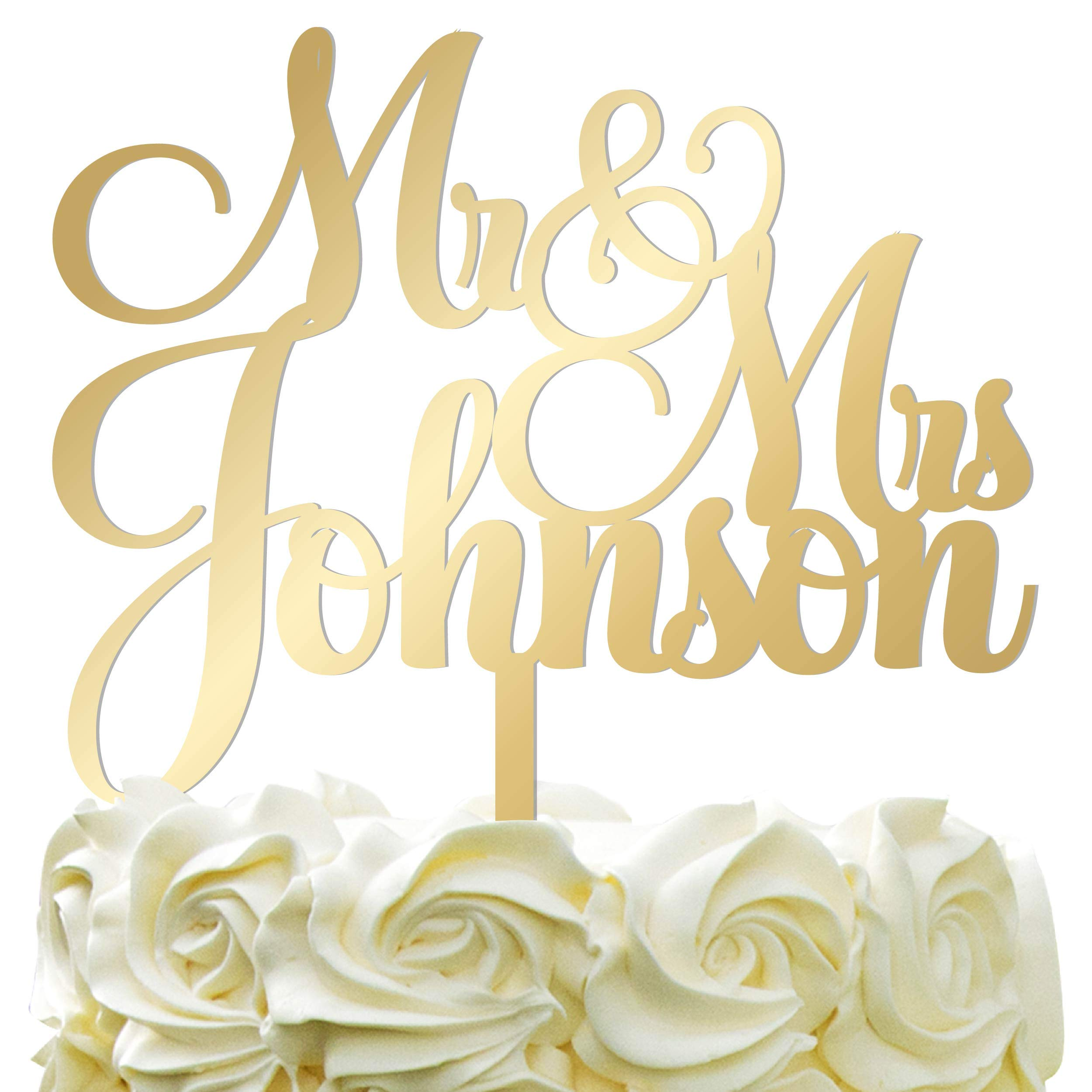 Personalized Wedding Cake Topper - Wedding Cake Decoration Customized Mr & Mrs Last Name To Be Bride & Groom script fontMirrored Acrylic