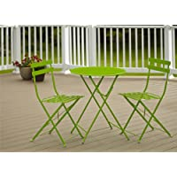 Cosco 3-Piece Folding Bistro-Style Patio Table and Chairs Set, Bright Green