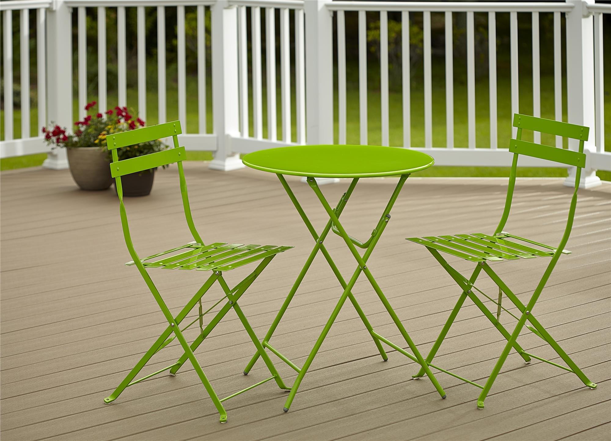 Cosco Outdoor Bistro Set, 3 Piece, Folding, Bright Green