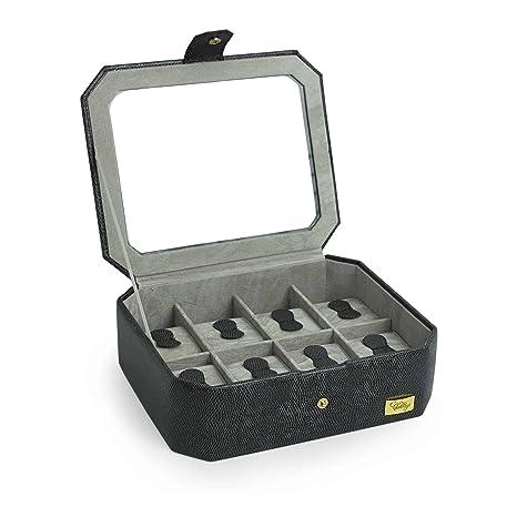 CORDAYS - Estuche Relojero para 8 Relojes con Vitrina de Crista Joyero Relojero para Accesorios y Joyas -Hecho a Mano- en Color Negro CDM-00037