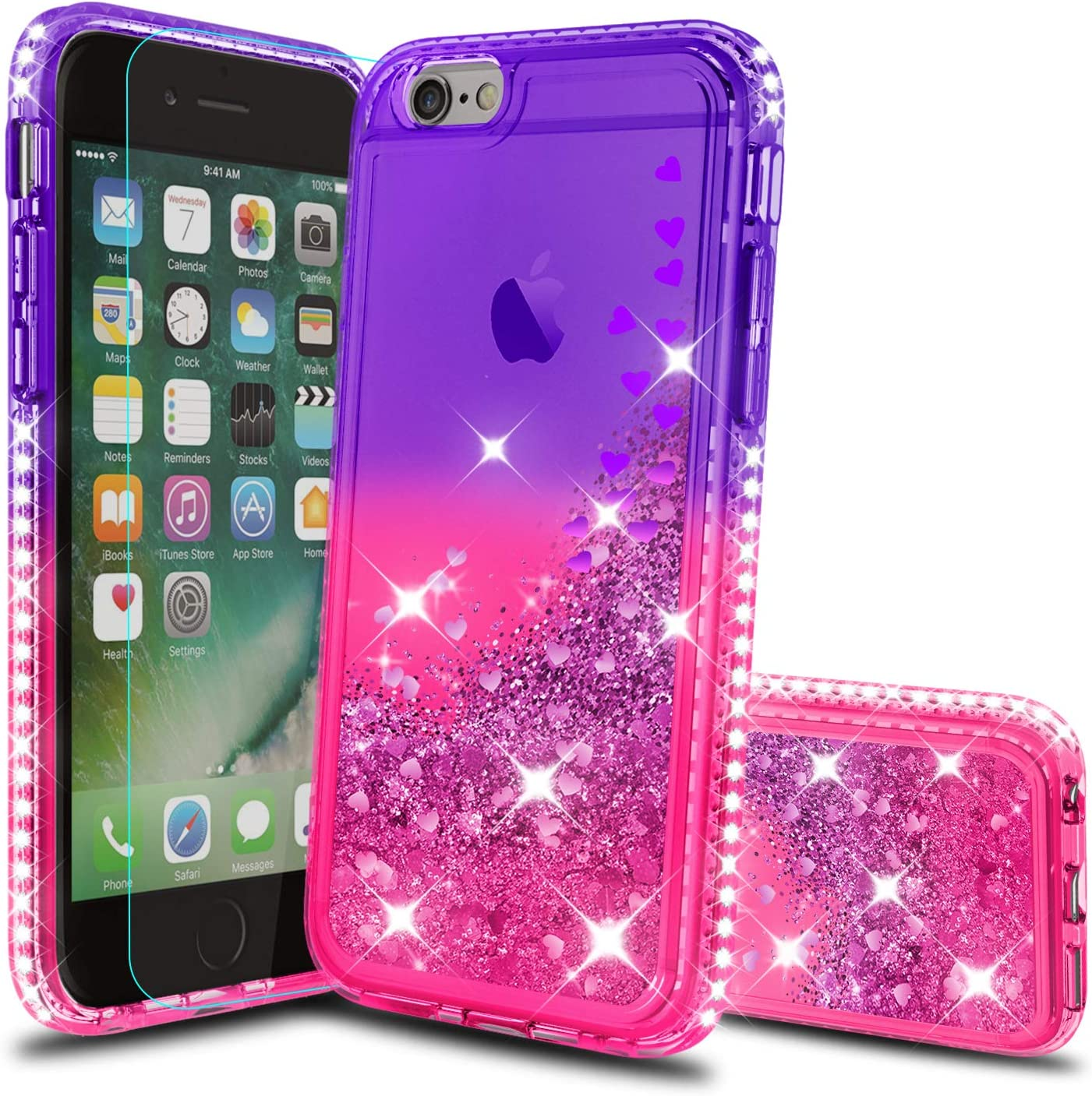 iPhone SE 2020 Case, iPhone 8 Case, iPhone 7 Case, iPhone 6s / 6 Case with HD Screen Protector for Girls Women, Atump Glitter Phone Case for Apple iPhone 6/ 6s/ 7/8 Purple/Rose