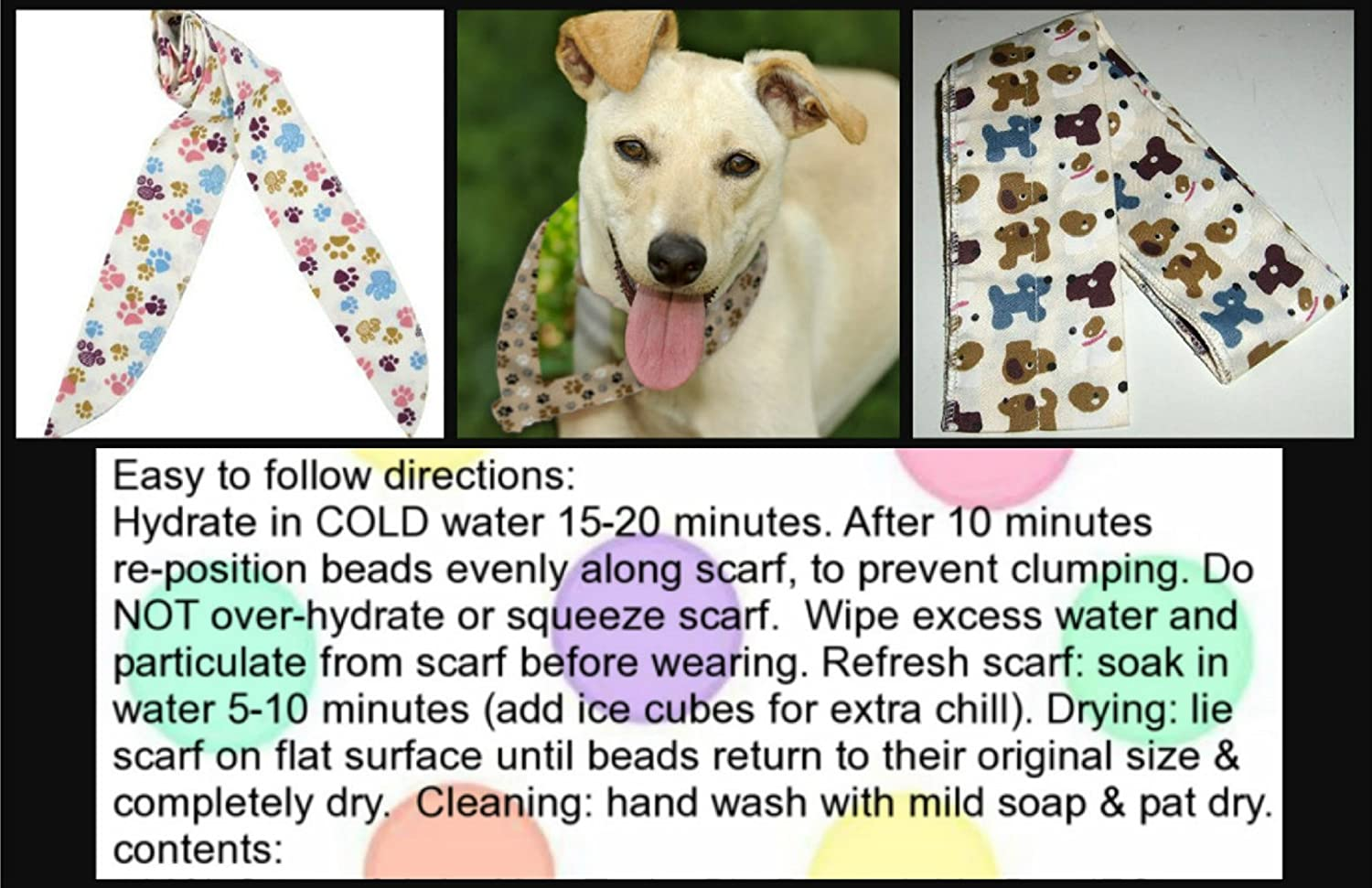 JellyBeadZ Brand - 2 PACK - Neck Cooling Scarf Wrap, Keep You Cool Bandana - 2 Cute Doggy Print Patterns