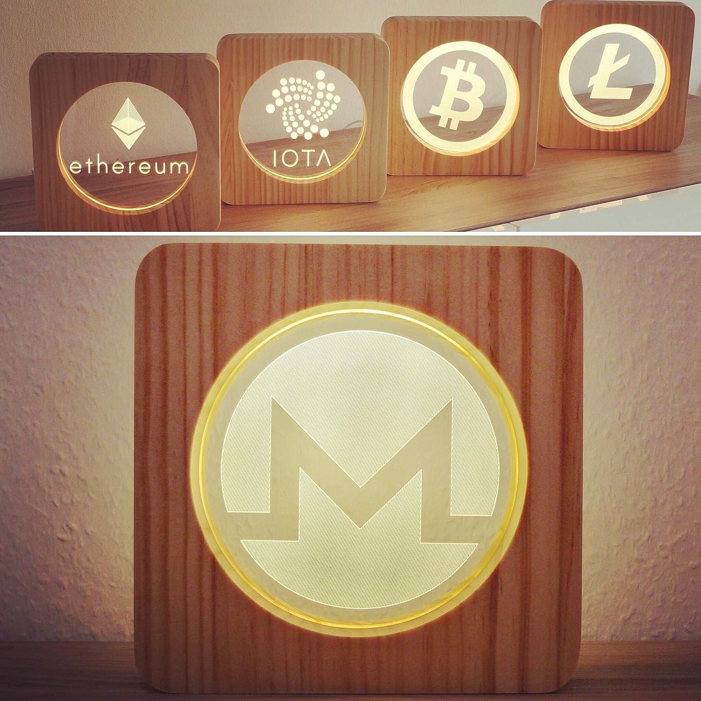 LED Lampe aus Holz im IOTA Design Perfekt als Geschenk für Krypto Fans