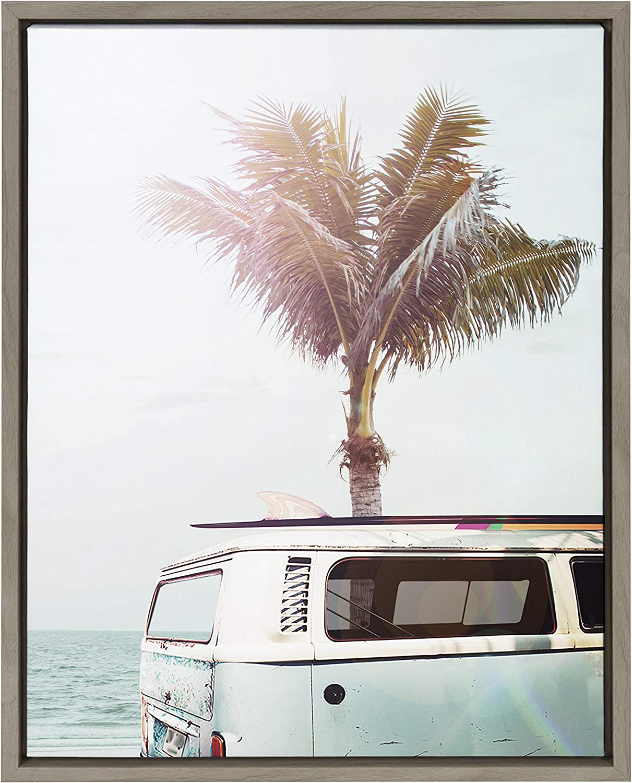 Kate and Laurel Sylvie Blue Beach Van Framed Canvas Wall Art by Amy Peterson, 18x24 Gray, Stylish Coastal Home Decor