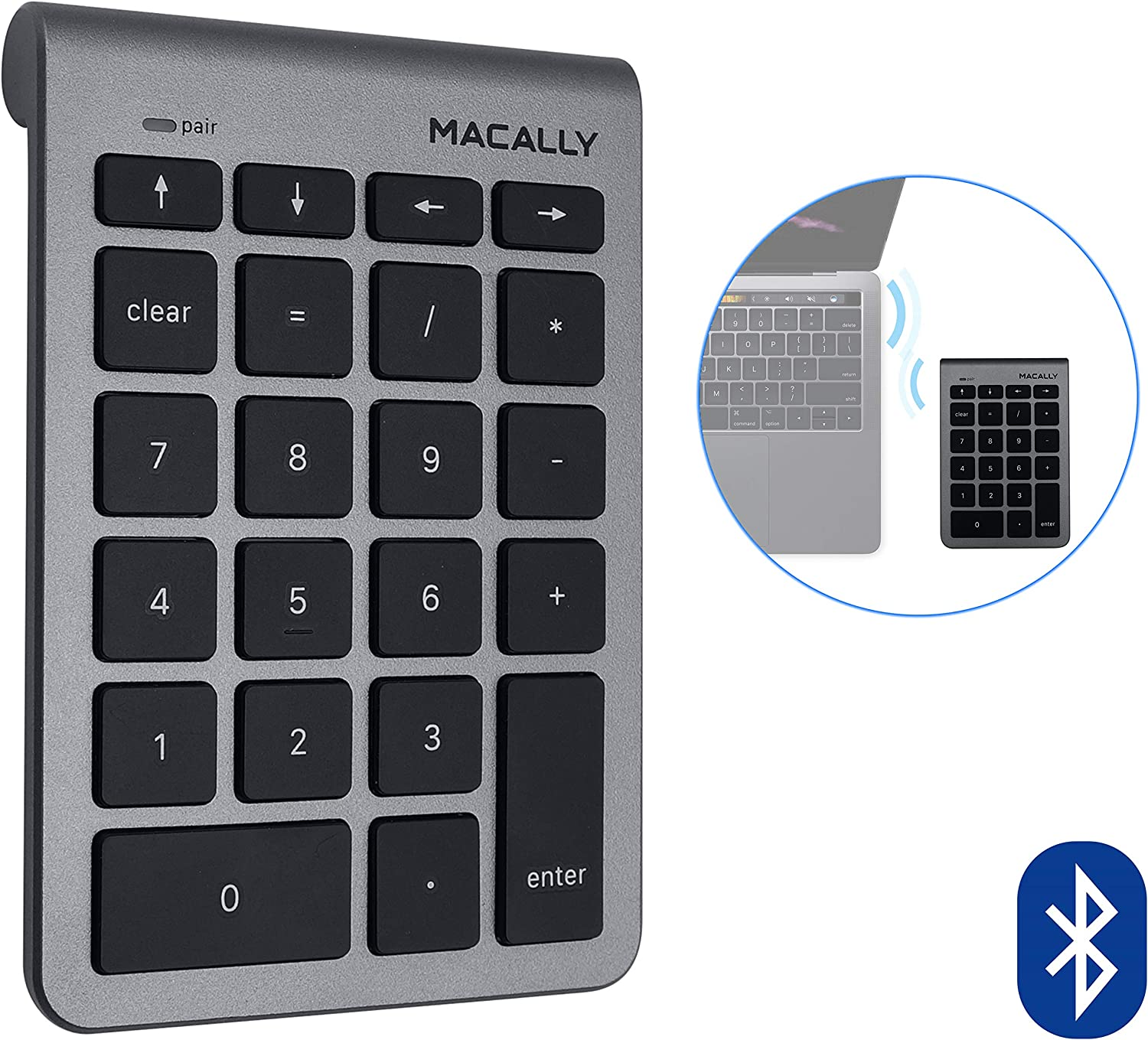 Macally 22 Keys Bluetooth Wireless Numeric Keypad for Mac with Arrow Keys & 10 Key Bluetooth Number Pad for Easy Data Entry - Number Keypad for MacBook Pro Air Laptop, iMac, Apple, iPhone, iPad Etc.