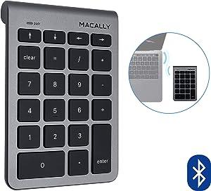 Macally 22 Keys Bluetooth Wireless Numeric Keypad for Mac with Arrow Keys & 10 Key Bluetooth Number Pad for Easy Data Entry - Number Keypad for MacBook Pro Air Laptop, iMac, Apple, iPhone, iPad Etc.