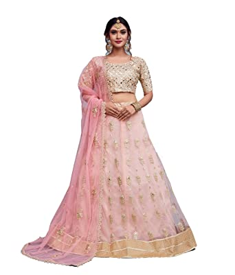 6c377638cd SK Clothing butti flower embroidered banglori Silk Lehenga choli with baby  pink colored net dupatta set(AD796, Free size, Peach): Amazon.in: Clothing  & ...