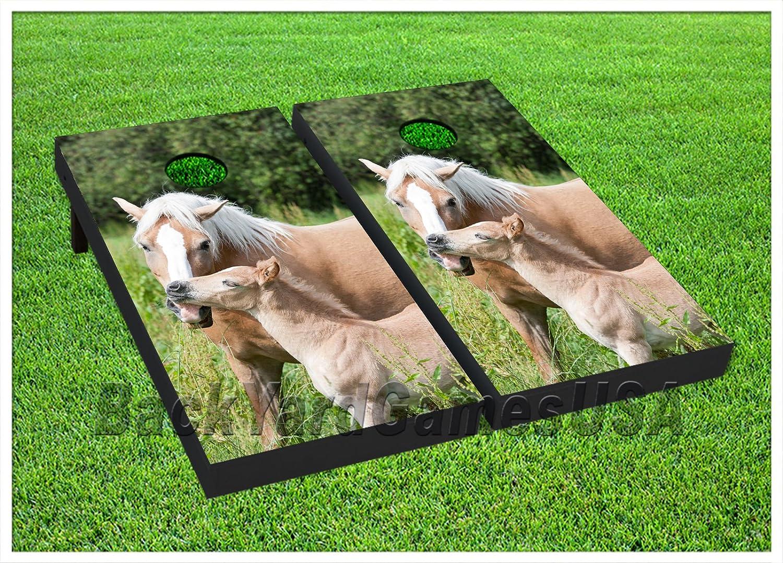 ビニールラップCornholeボードデカールYearling Horse Horse Bag Toss Toss B076L3MBBB Gameステッカー243 B076L3MBBB, わくわく店(てん):a6eef886 --- harrow-unison.org.uk