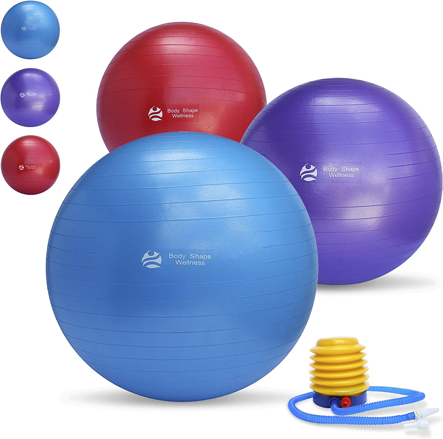 Exercise Ball Chair Multiple Sizes For Fitness, Stability, Gym, Balance Yoga – Professional Quality Anti-Burst Extra Thick Fitness Ball – Great for Pilates, Abdominal Workout and Office Chair.