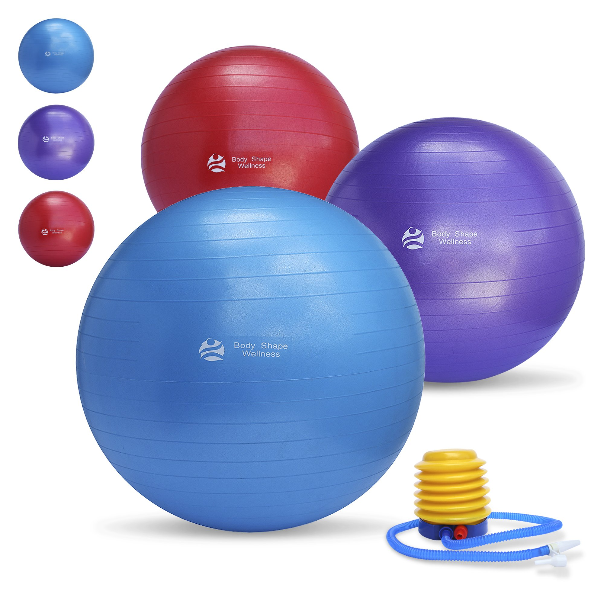 Body Shape Wellness Premium Exercise Gym Quality Ball with Pump-55cm/65cm/75cm well Tested up to 2000lbs Aniburts Stability Ball