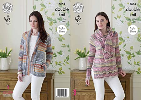 6cd633bbe1ded Image Unavailable. Image not available for. Colour  King Cole Womens Double  Knitting Pattern Raglan Sleeve Jacket ...