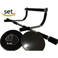 RAM-fitness Barra de dominadas para Marco de la Puerta y Juego de Deslizadores Core Slider, Barra de dominadas y Discos deslizantes para el Desarrollo Muscular de Cuerpo Entero Freeletics