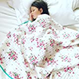 100% Organic Muslin Everything Blanket by ADDISON BELLE - Oversized 47 inches x 47 inches - Best Baby/Toddler Gift - Premium 4 Layer Muslin Blanket/Dream Blanket (Flower Print)