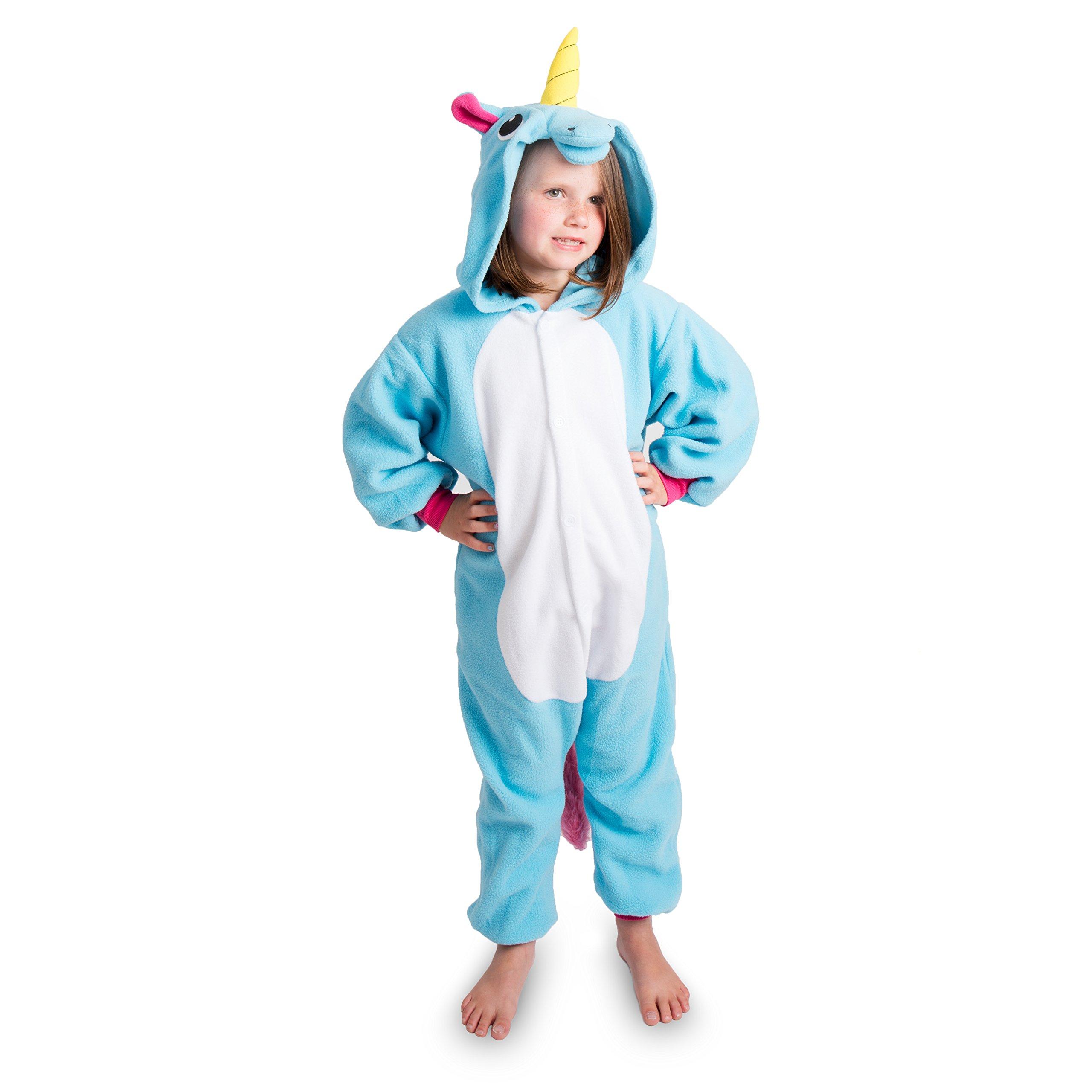 Emolly Fashion Kids Animal Unicorn Pajama Onesie - Soft and Comfortable with Pockets (5, Blue)