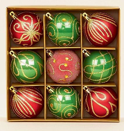 Lot de 9 boules de Noël rouge/vert 6 cm: Amazon.fr: Cuisine & Maison