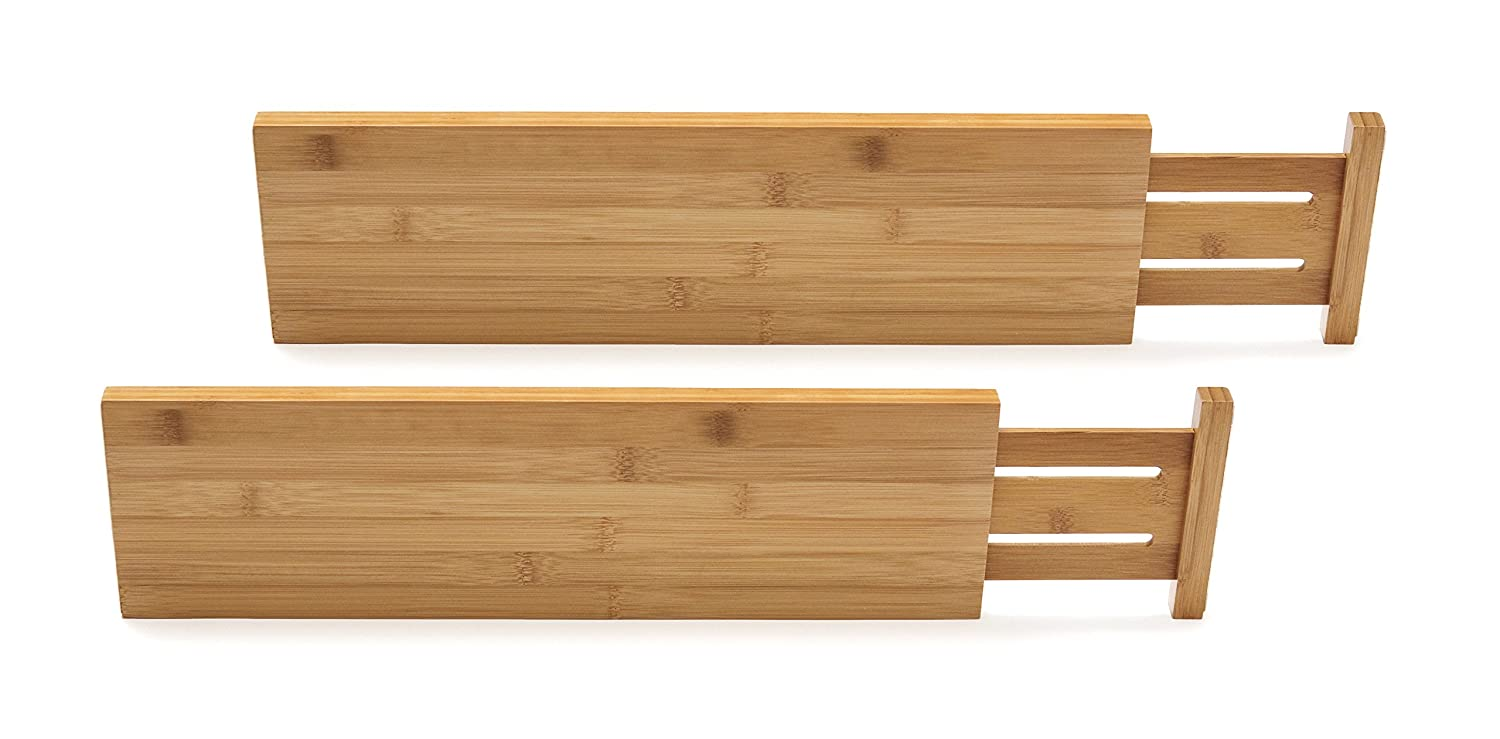 Lipper International 8897 Bamboo Wood Custom Fit Adjustable Deep Kitchen Drawer Dividers, Set of 2