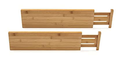 Bon Lipper International 8897 Bamboo Wood Custom Fit Adjustable Deep Kitchen  Drawer Dividers, Set Of 2