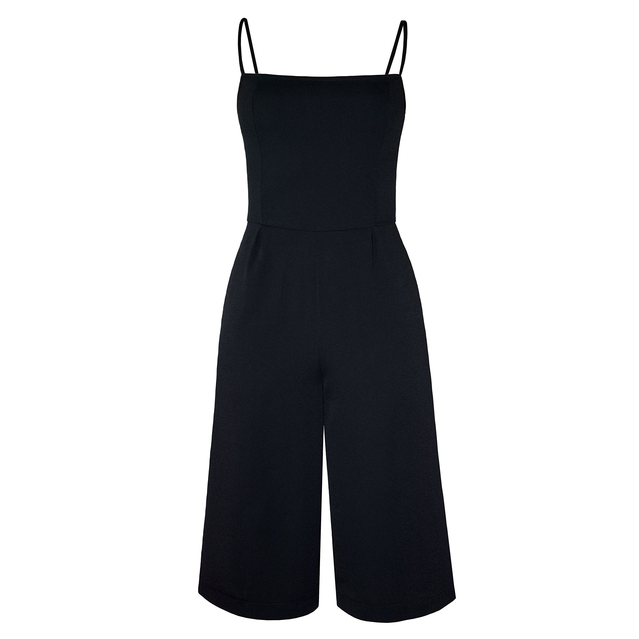 closet convention Black Culotte Jumpsuit with Wide Leg Palazzo Capri Pants, Side Pockets and Fitted top (Medium)