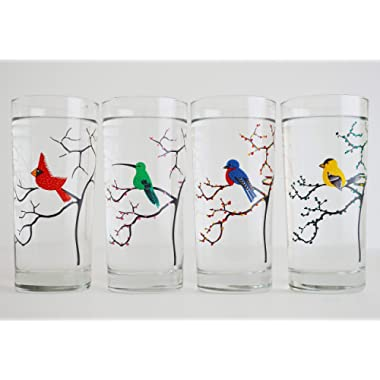 The Four Seasons Birds - Set of 4 Painted Glasses, Mother's Day Gift, Mother's Day, Gift for Her