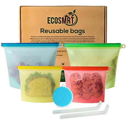 Eco Smrt Silicone Food Storage Bag (4) + 2 Silicone Straws & Scrubber Sponge | Reusable Ziploc Bags (2 Sizes) Eco Friendly Leakproof Freezer Safe | Zero Waste Sandwich Snack Food Bag by Eco Smrt
