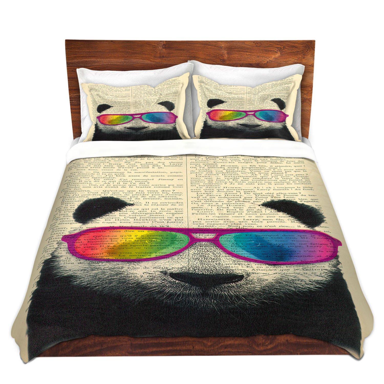DiaNoche Designs Microfiber Duvet Covers Madame Memento - Panda Bear Rainbow Sunglasses