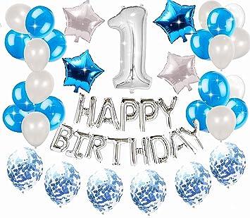 JeVenis 36 PCS Plata Azul 1er Cumpleaños Decoraciones ...