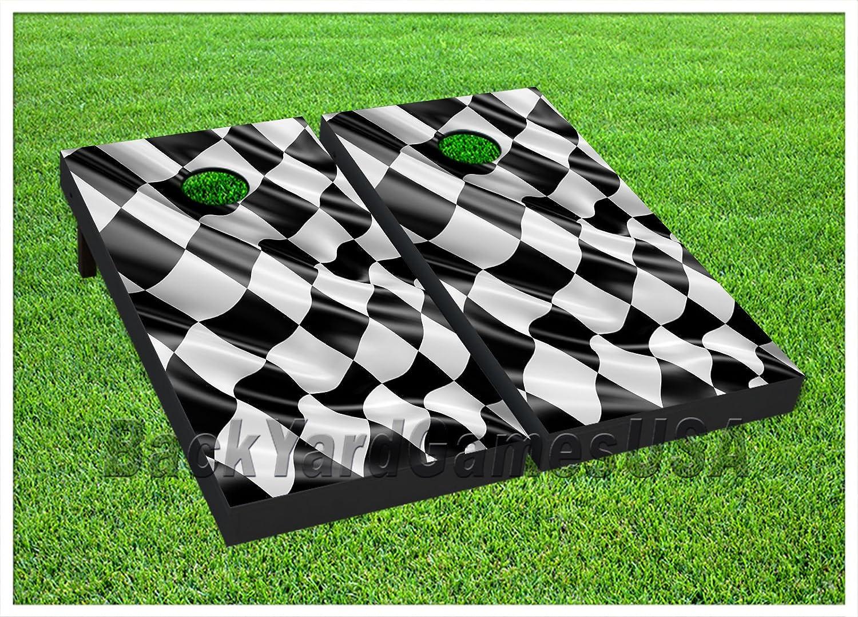 ビニールラップCornholeボードデカールNascar Racing Flag Bag Toss Gameステッカー370   B07764TH9Q
