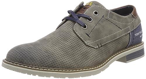 TOM Tailor 4880702, Zapatos de Cordones Brogue para Hombre, Gris, 42 EU