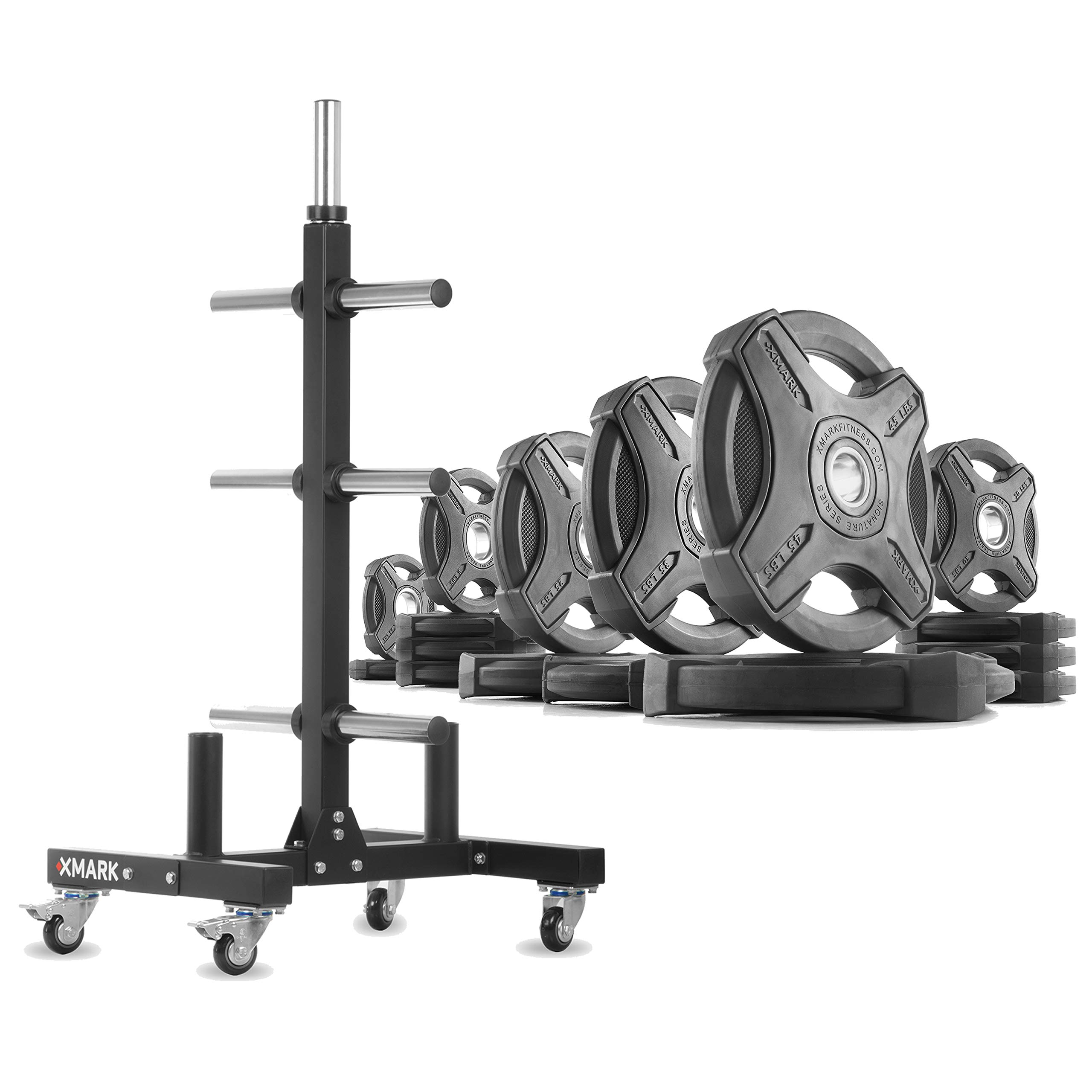 XMark XM-9055 Commerical Olympic Weight Tree Plus a 275 lb Set of Signature Olympic Plates by XMark