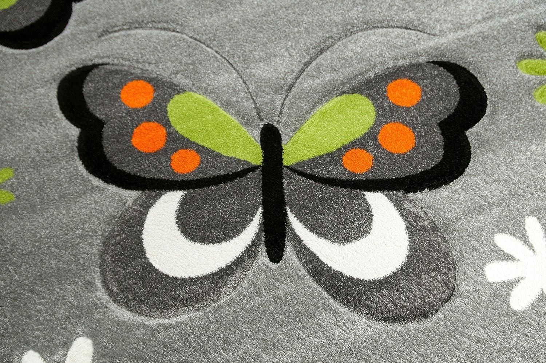 CARPETIA KINDERTEPPICH M/ÄDCHEN Schmetterling ROT GRAU Gr/ö/ße 80x150 cm
