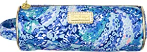 Lilly Pulitzer Blue Pen and Pencil Pouch Holder, Cute Travel Bag/Case with Carrying Handle and Zip Close, Wave After Wave