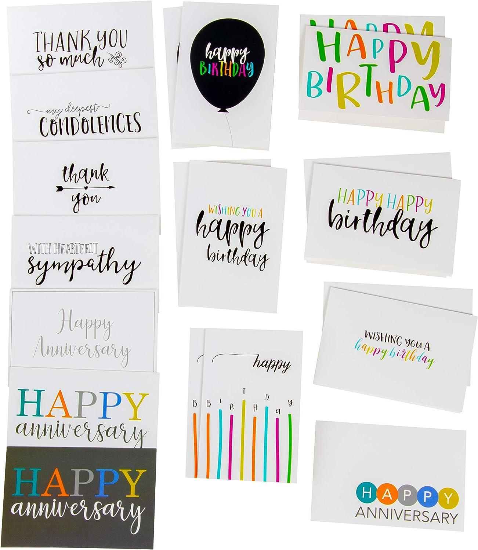 24,6 x 15,2 x 19,1 cm 20 notes bo/îte de rangement pour cartes danniversaire 20 enveloppes cartes d/écoratives cartes de v/œux Organiseur de cartes de luxe avec 12 intercalaires