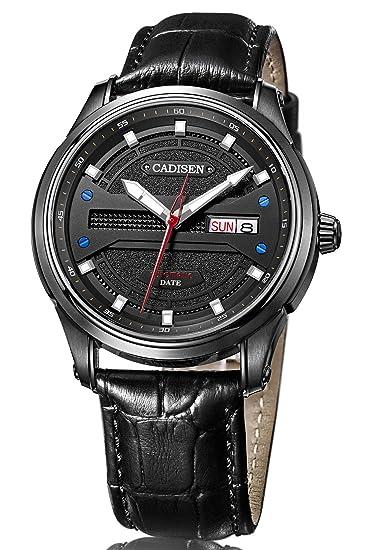cadisen Mens negocio de moda de lujo calendario cuero automático mecánico relojes