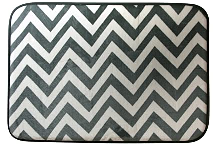 Northpoint Ruya Printed Velvet Memory Foam Bath Rug, 17 By 24 Inch, Chevron