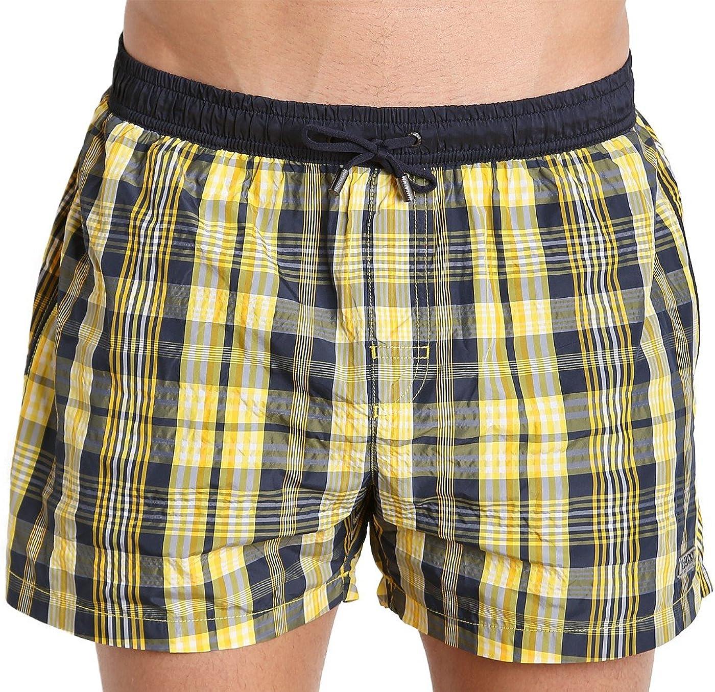 hugo boss yellow swim shorts