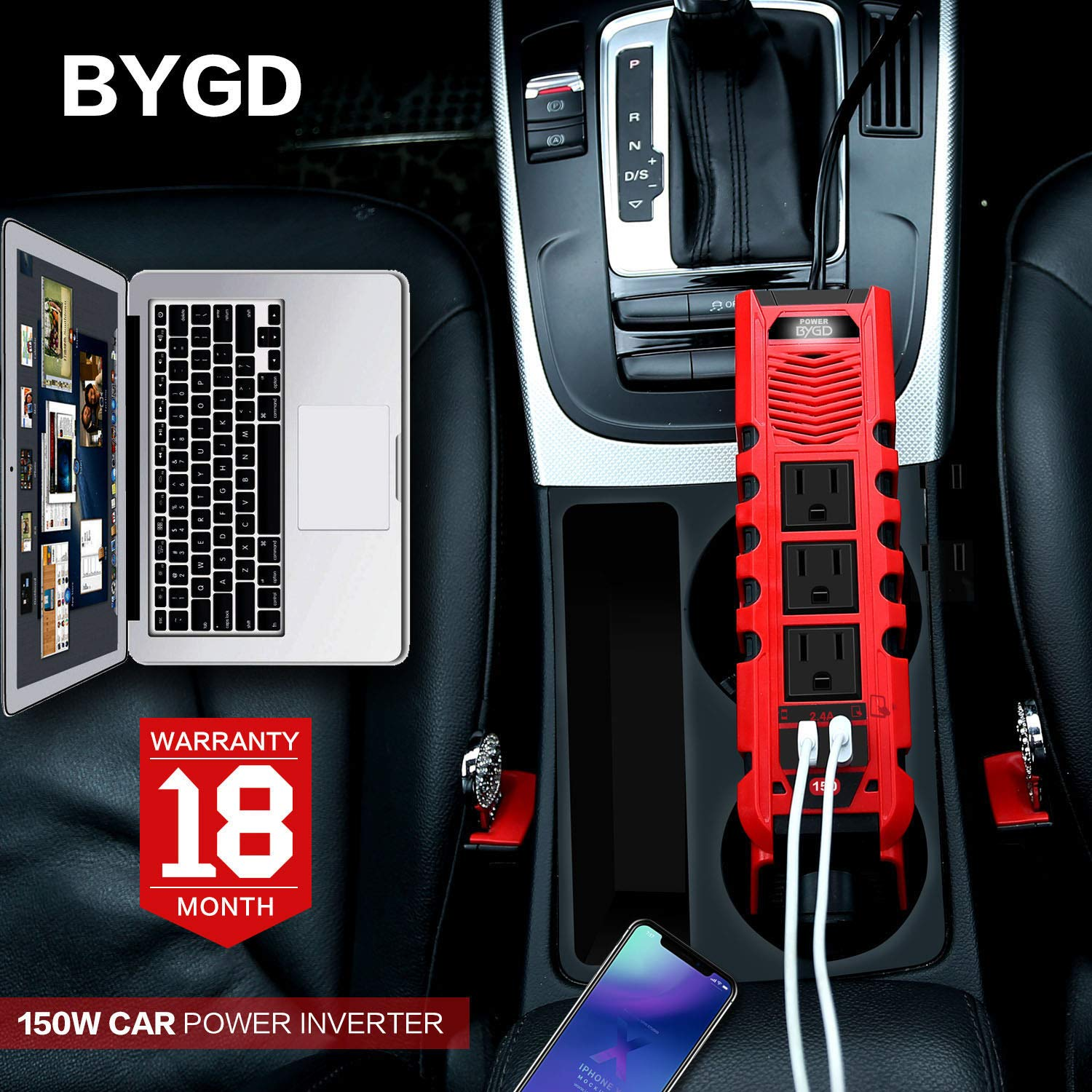 BYGD 150W Car Power Inverter DC 12V to 110V AC Converter with 3 Charger Outlets and Dual 2.4A USB Ports Car Cigarette Lighter Adapter by BYGD (Image #5)