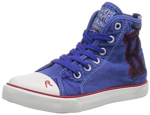 REPLAY Doonside - zapatillas deportivas altas de lona niño, color azul, talla 26: Amazon.es: Zapatos y complementos