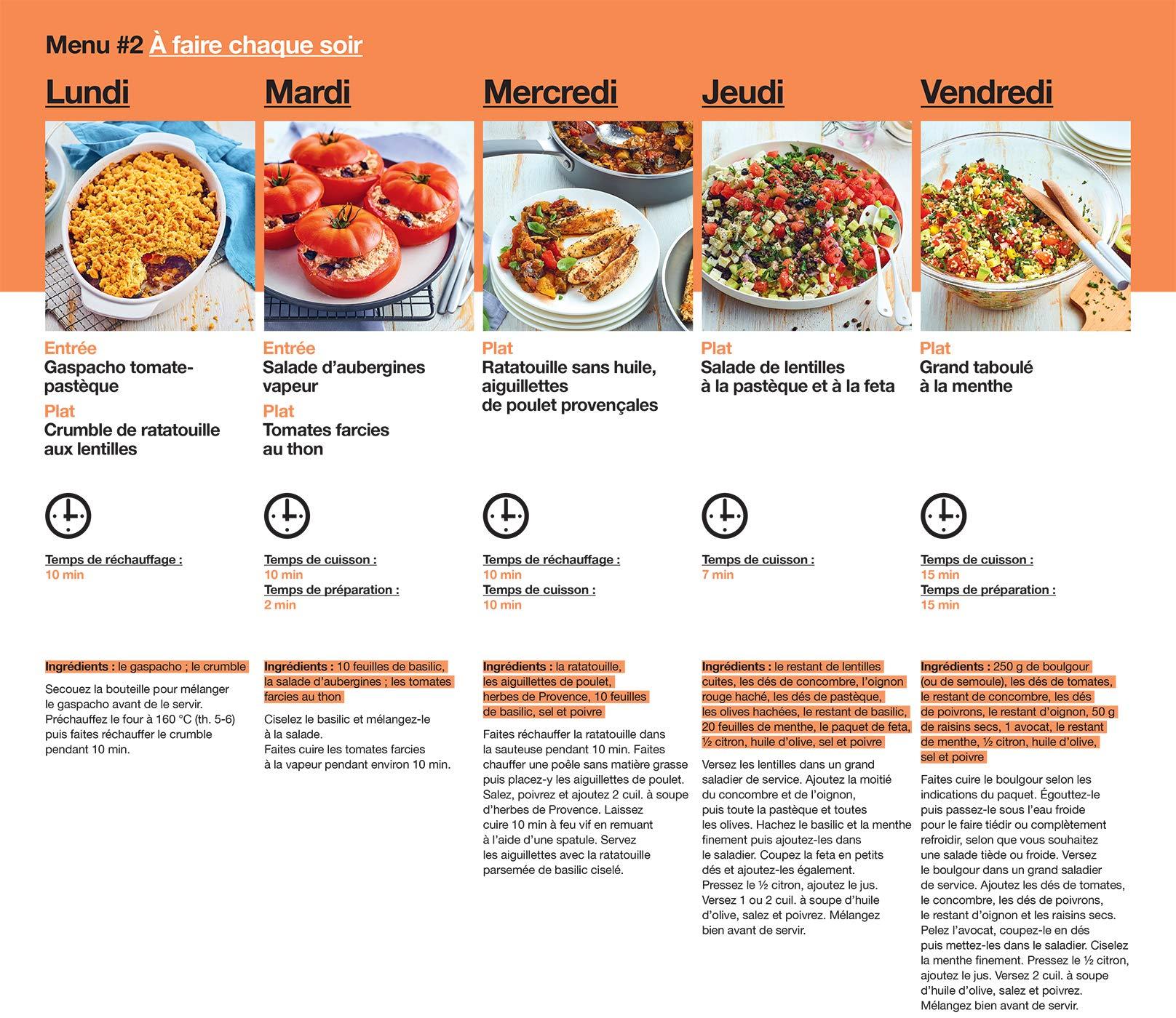 En 2h Je Cuisine Pour Toute La Semaine 52 Menus Hebdomadaires