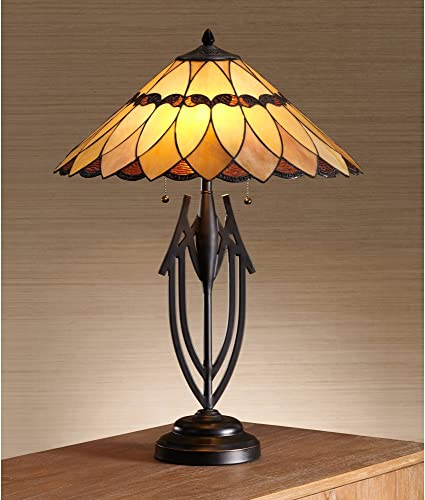 Shiloh Traditional Table Lamp Dark Bronze Sculptural Antique Tiffany Style Scallop Stained Art Glass Shade for Living Room Bedroom Bedside Nightstand Office Family – Robert Louis Tiffany