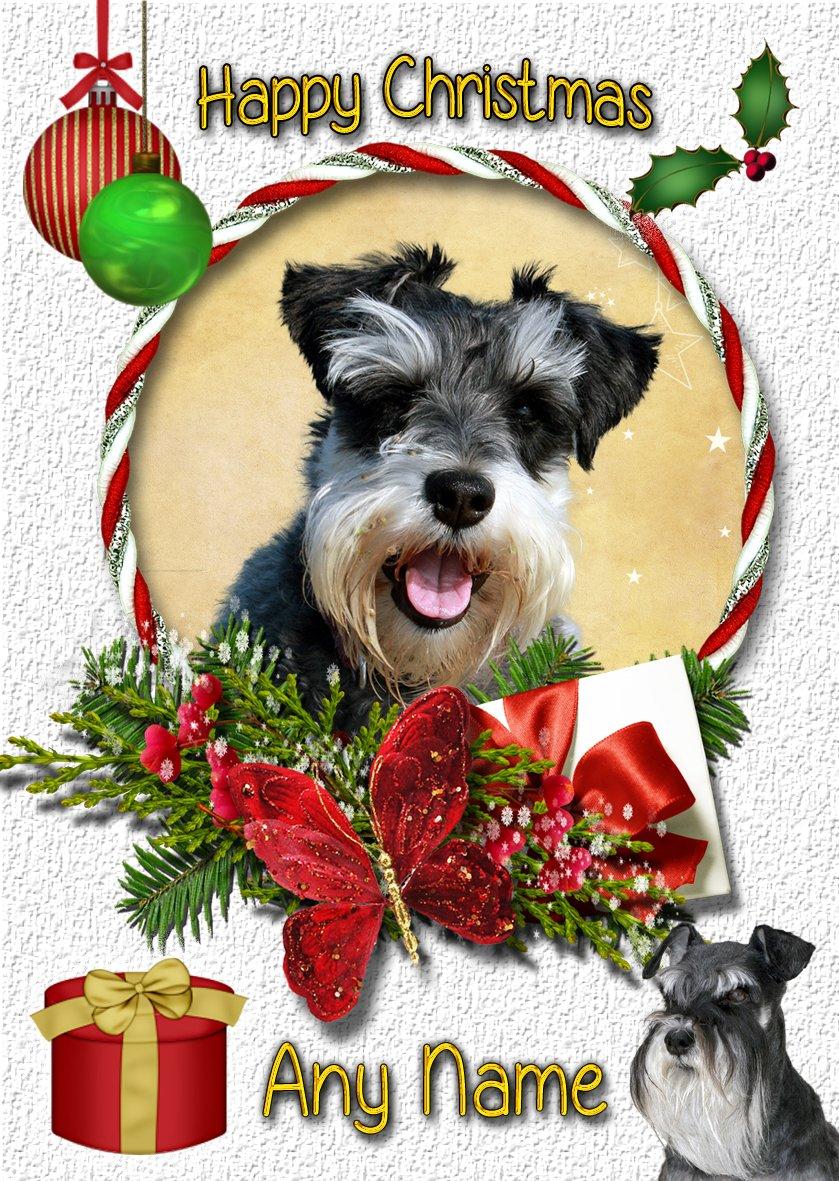 Personalised Mini Schnauzer Christmas Card - Any Name/Xmas Greeting ...