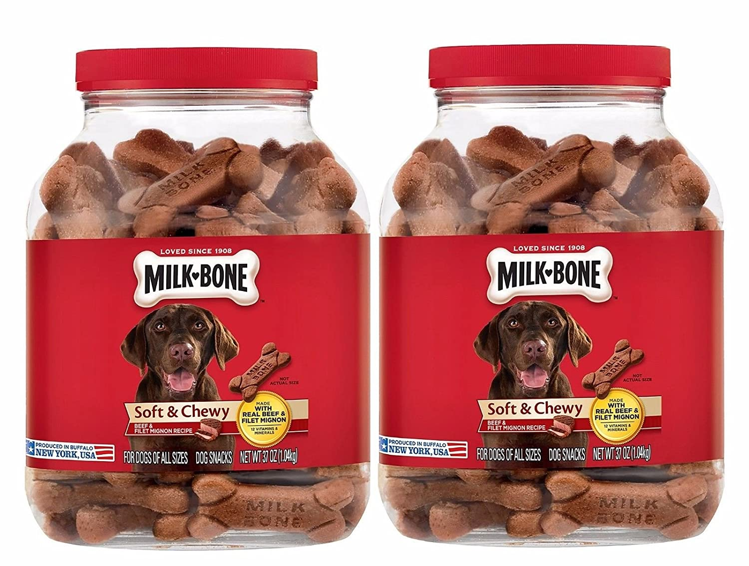 2 PACK Milk-Bone Soft & Chewy Beef & Filet Mignon Recipe Dog Treats, 25-Ounce