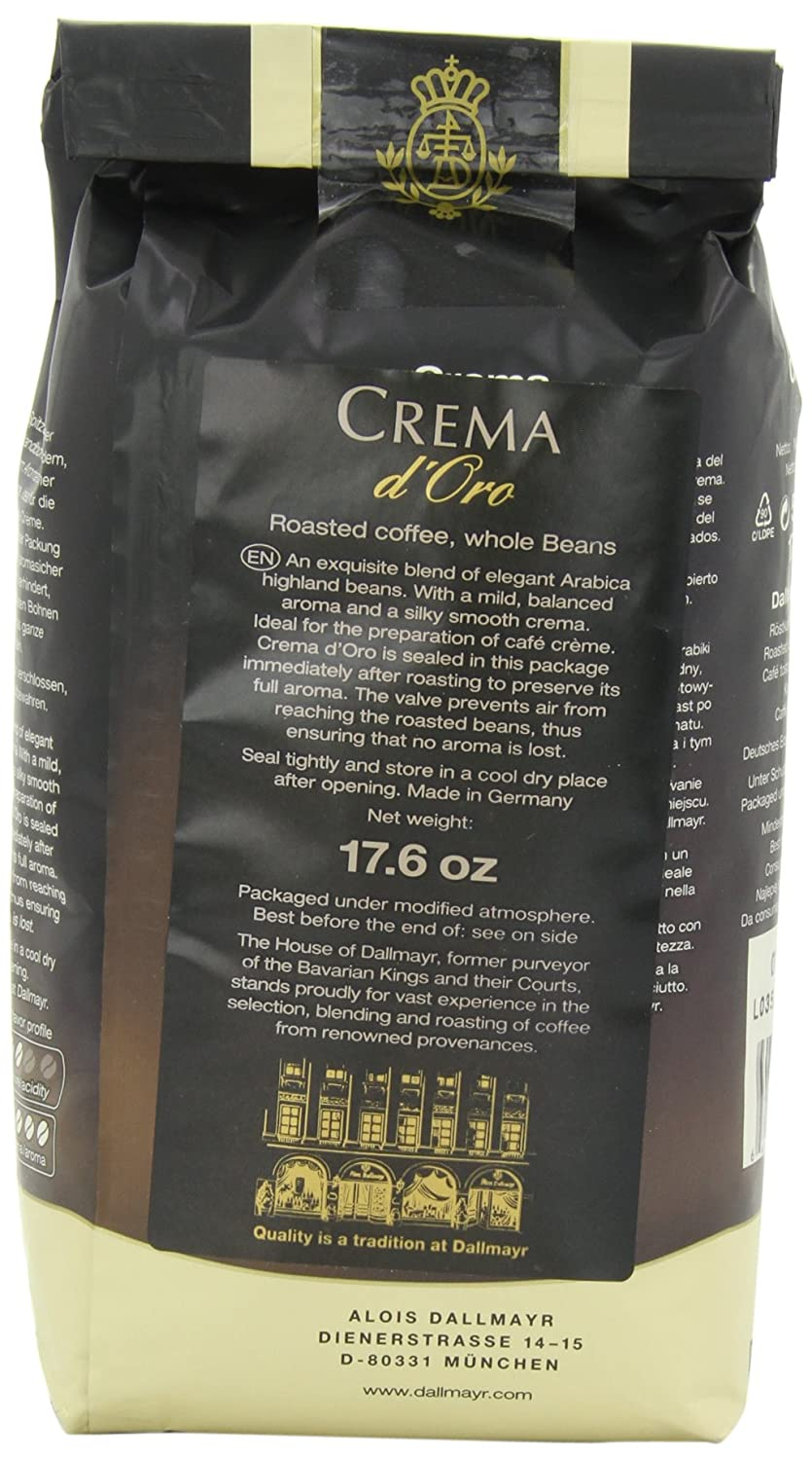 452d2059d13 Amazon.com : Dallmayr Crema d'Oro Whole Bean Coffee, 17.6 Ounce (Pack of 2)  : Roasted Coffee Beans : Grocery & Gourmet Food