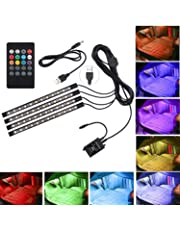 Justech Car LED Strip Lights 4PCS 48LEDs Multicolor Music Car Interior Atmosphere Lights RGB SMD 48 LED Car Mood Lights with Sound Active Function and Wireless Remote Control for Car TV Home-USB Port