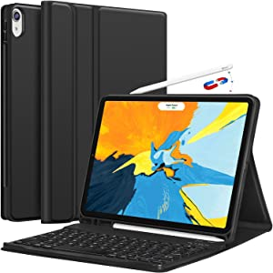 iPad Pro 11 Keyboard Case 2018 - Detachable Wireless Keyboard [Support Apple Pencil Charging] - PU Leather Folio Stand Cover with Pencil Holder for iPad Pro 11 Inch 2018, Black