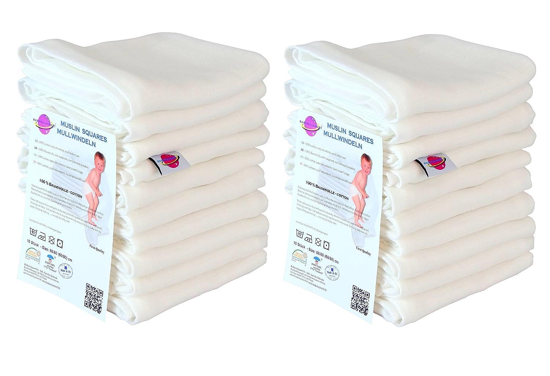Babymajwelt Mulltücher Baby Putztücher Spucktücher Stilltücher (60x80 weiss (20 Stück)) Babymajawelt