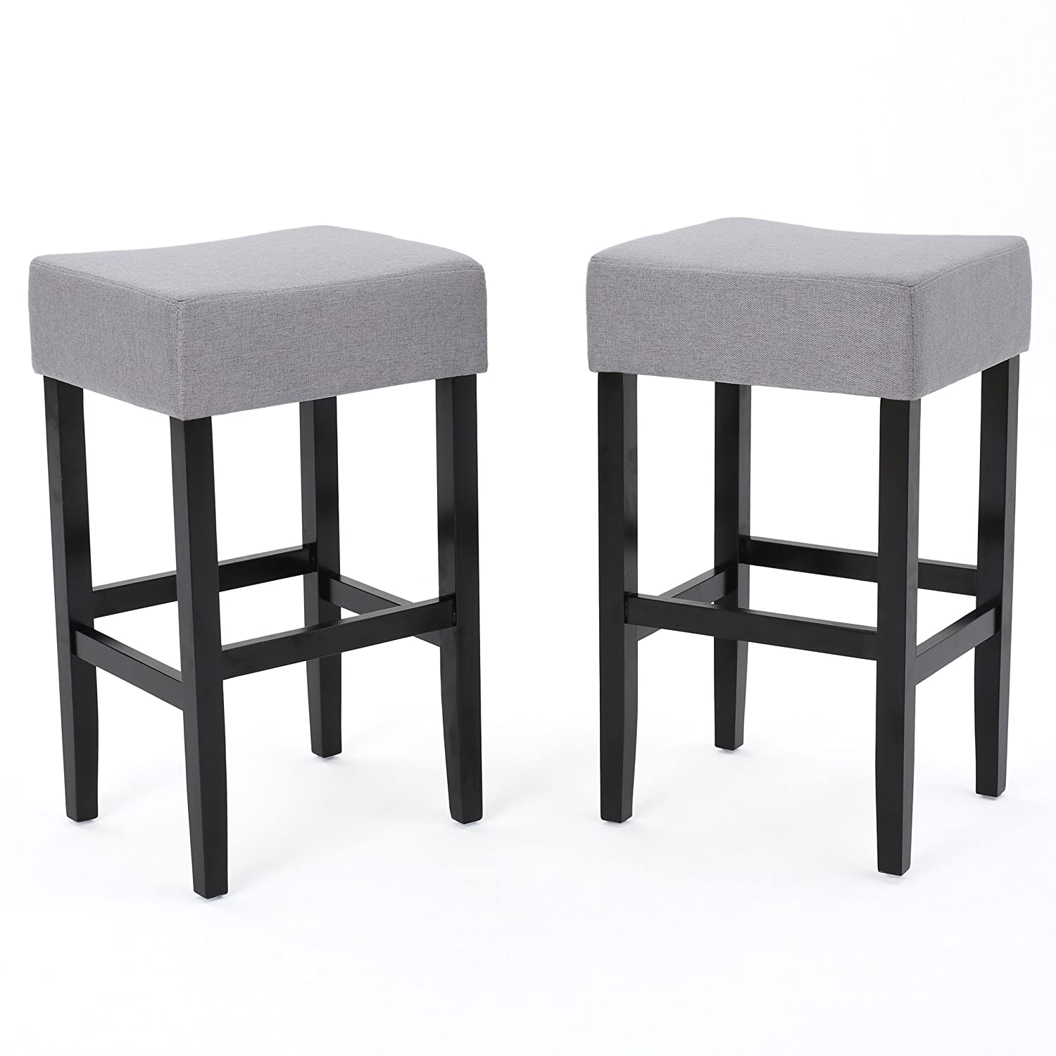 Stupendous Delta Light Grey Fabric Backless Barstools Set Of 2 Andrewgaddart Wooden Chair Designs For Living Room Andrewgaddartcom