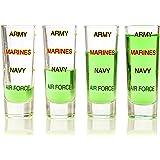 Army Shot Glass Levels, 4 Pack, Military, Veteran, Gift Set