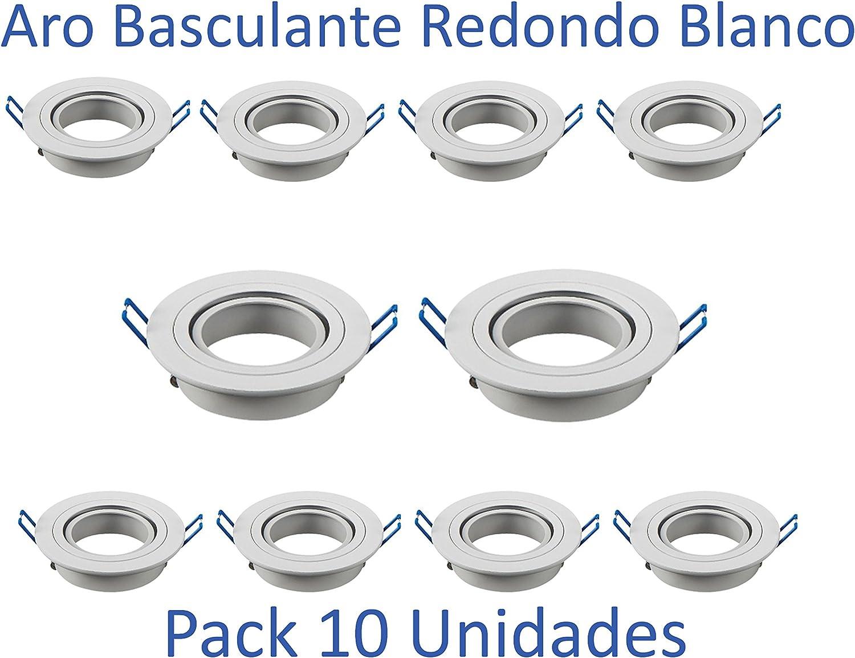 Aro Basculante Redondo para Dicroica Led [Pack 10 Unidades] (Blanco): Amazon.es: Iluminación