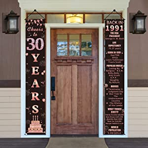 Pimvimcim 30th Birthday Banner Party Decorations for Women, Cheers to 30 Years Back in 1991 Banner Porch Sign Supplies, Rose Gold Happy 30 Birthday Sign Decor for Indoor Outdoor