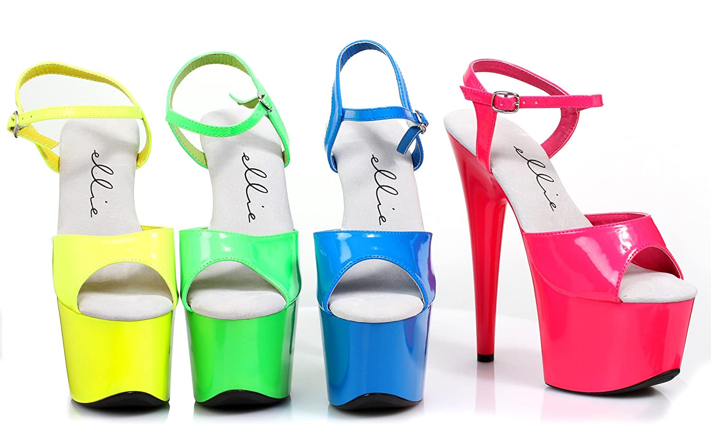 Ellie Shoes 7 inch Neon Stiletto Sandal. B00DMR2BTQ 11 M US|Yellow